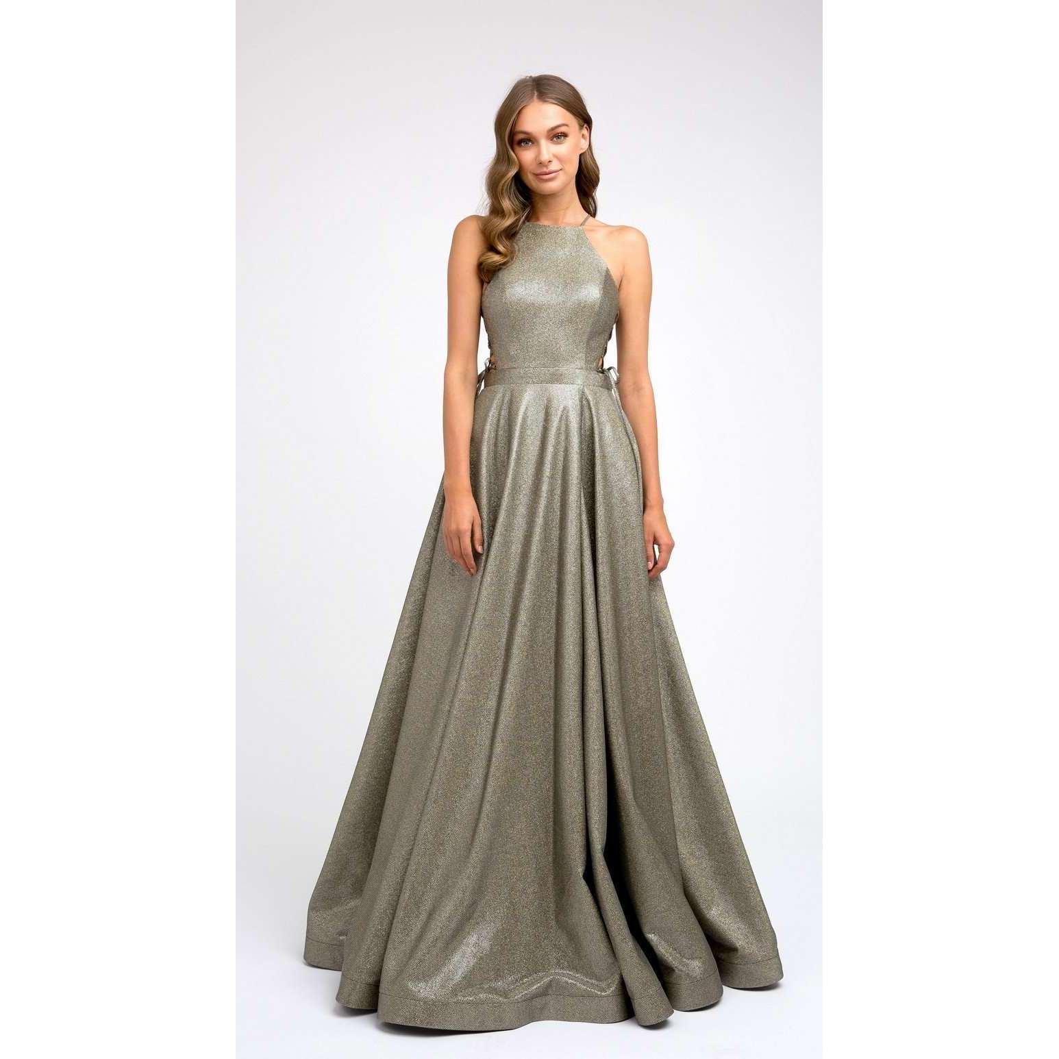 Metallic High cut halter neckline Prom Gown 241 - Julietdresses