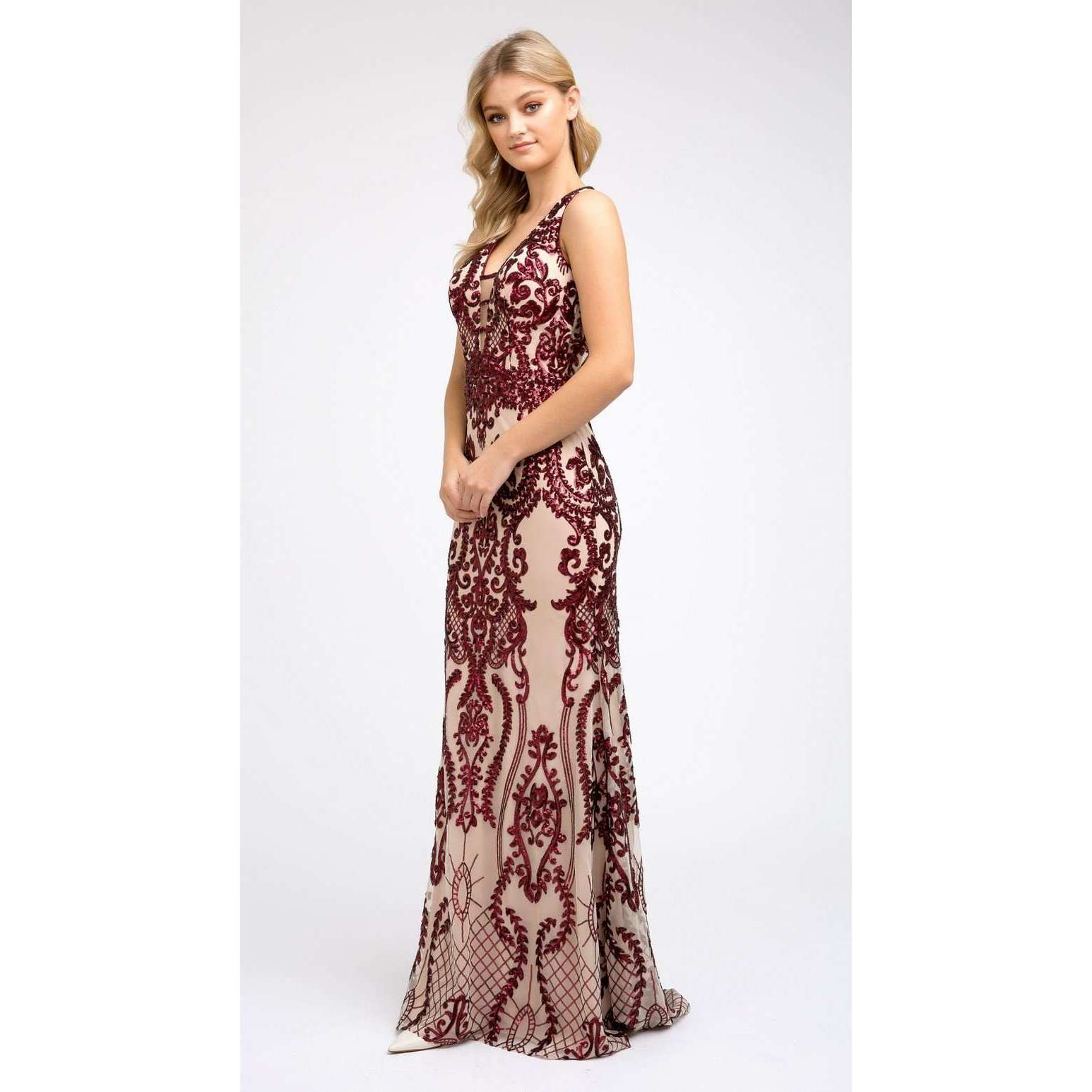 Fitted Sequin Prom Evening Gown 243 - Julietdresses