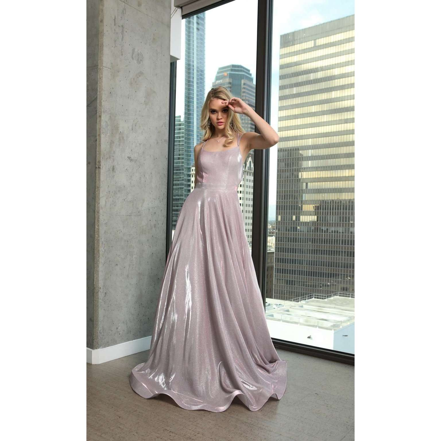 Long Glitter Crepe Prom Dress with Back Cut Outs 203 - Julietdresses