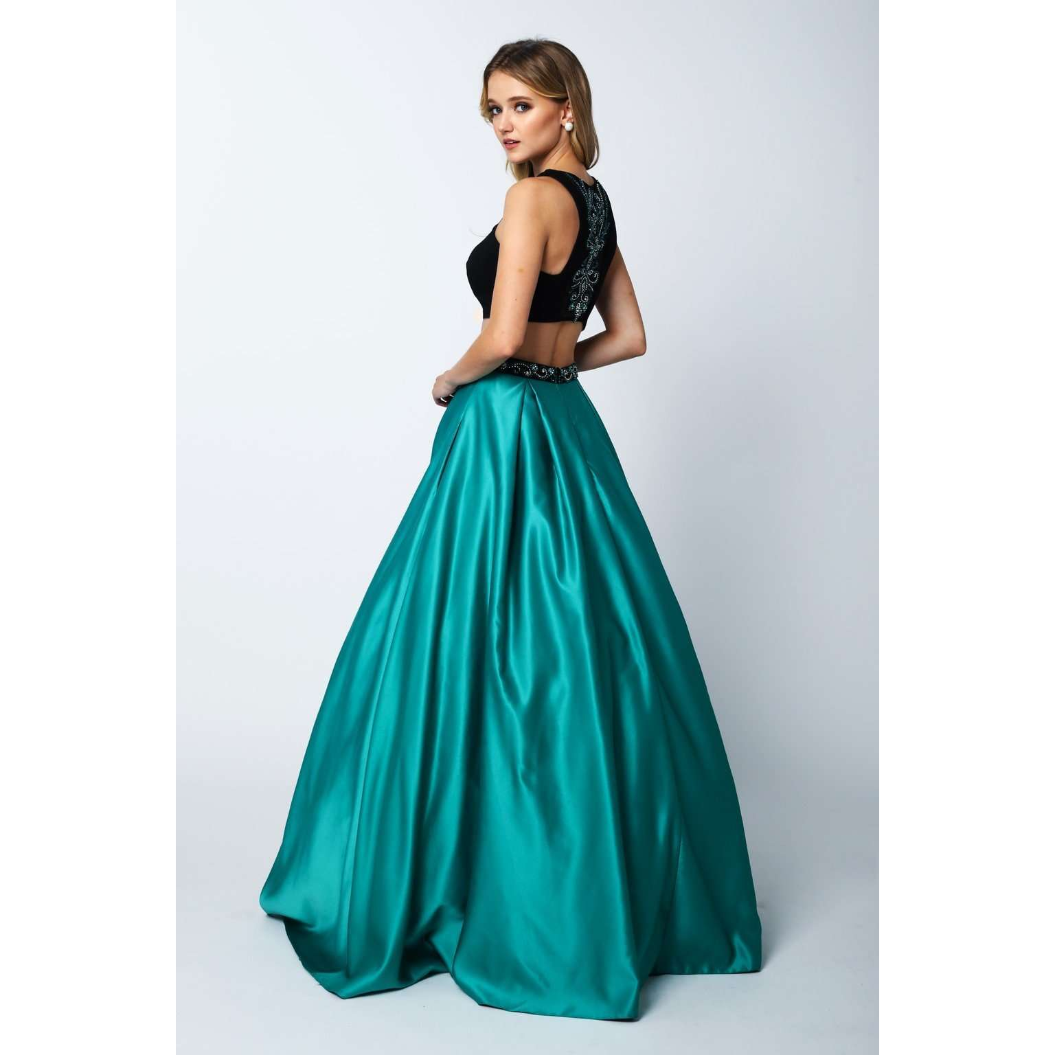 Fitted Jersey Bodice Ball Gown Style Prom Dress 358 - Julietdresses