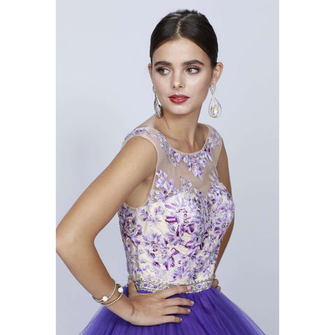 Floral Embroidered Bodice and Keyhole Back Ballgown 360 - Julietdresses