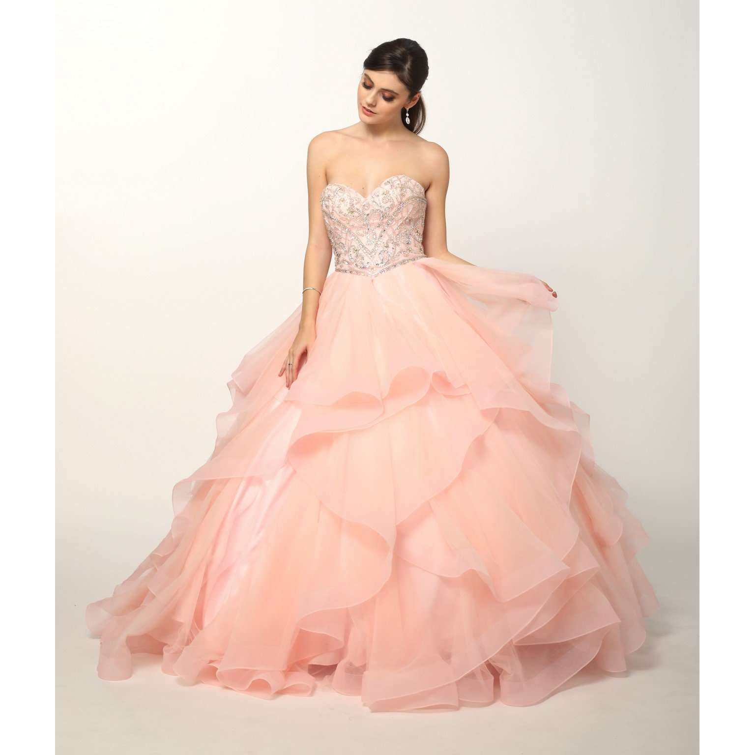 Sweetheart Beaded Top and Ruffle Skirt Ballgown 369 - Julietdresses