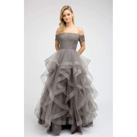 Beaded Sweetheart Tiered Ball Gown 395 - Julietdresses
