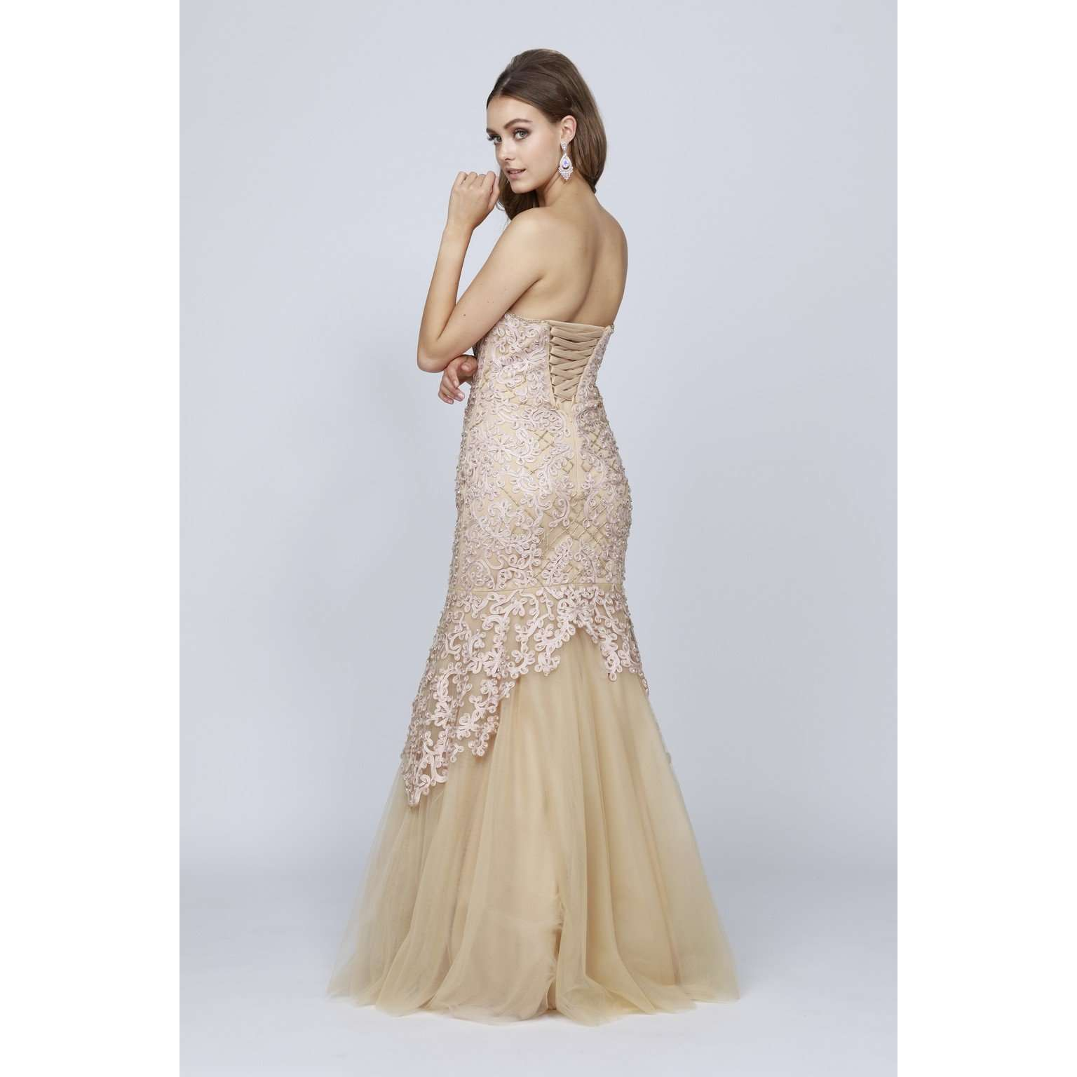 Beaded Embellished Lace Mermaid Prom Dress 644 - Julietdresses