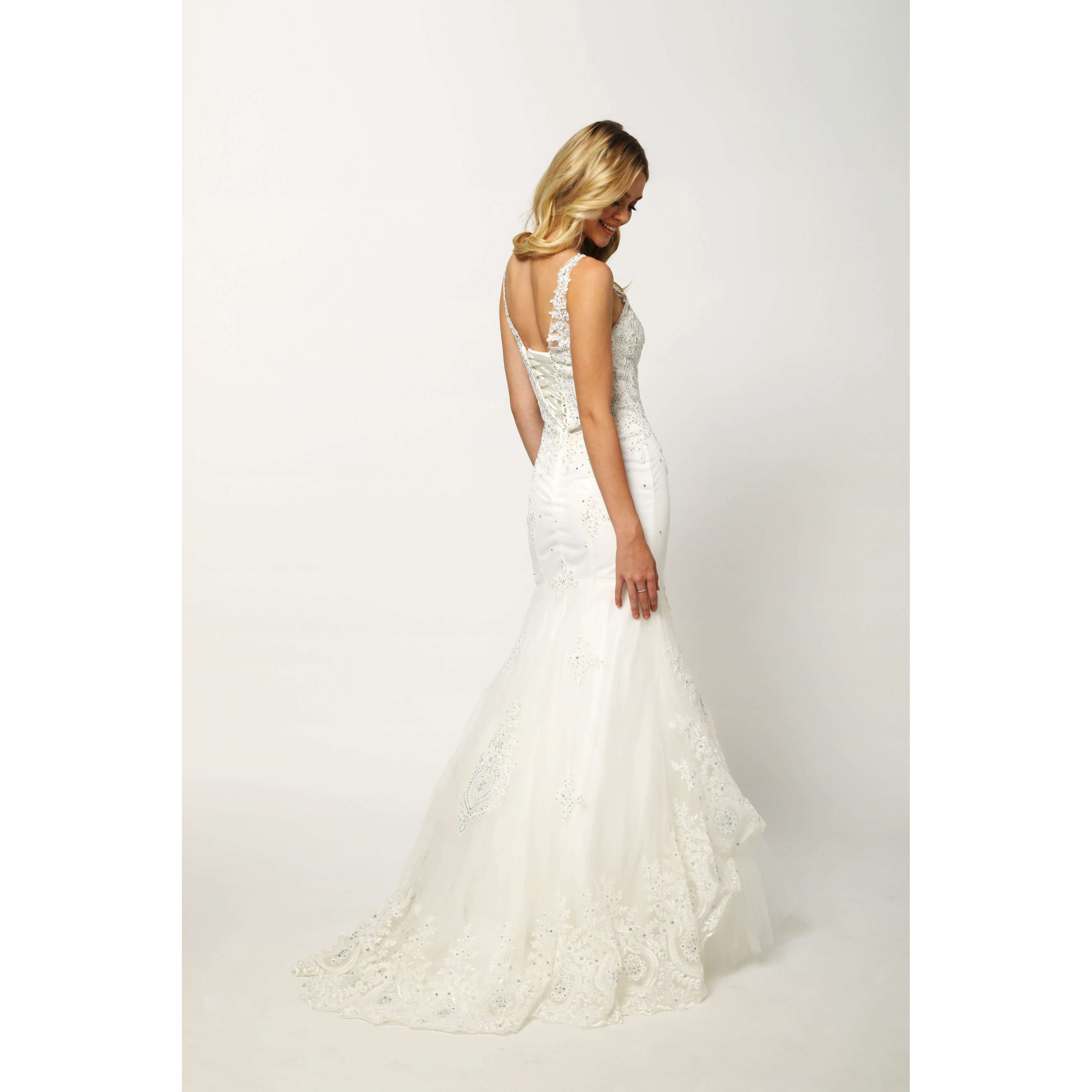 Embellished Lace Mermaid Wedding Dress 654W - Julietdresses