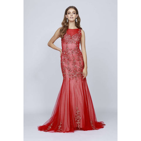 Floral Appliques Mermaid Prom Dress 656 - Julietdresses
