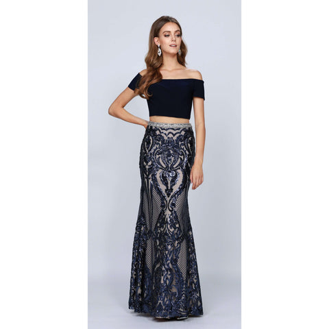 Fitted Embellished Scallop Sequin Prom Dress 663 - Julietdresses