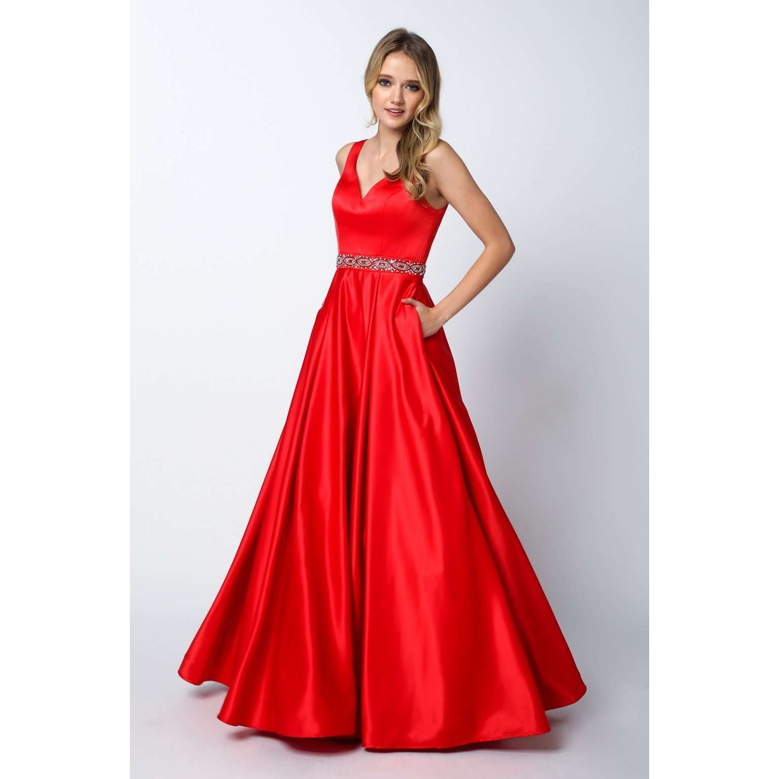 A-line Bodice with Beaded Waist Prom BallGown 666 - Julietdresses