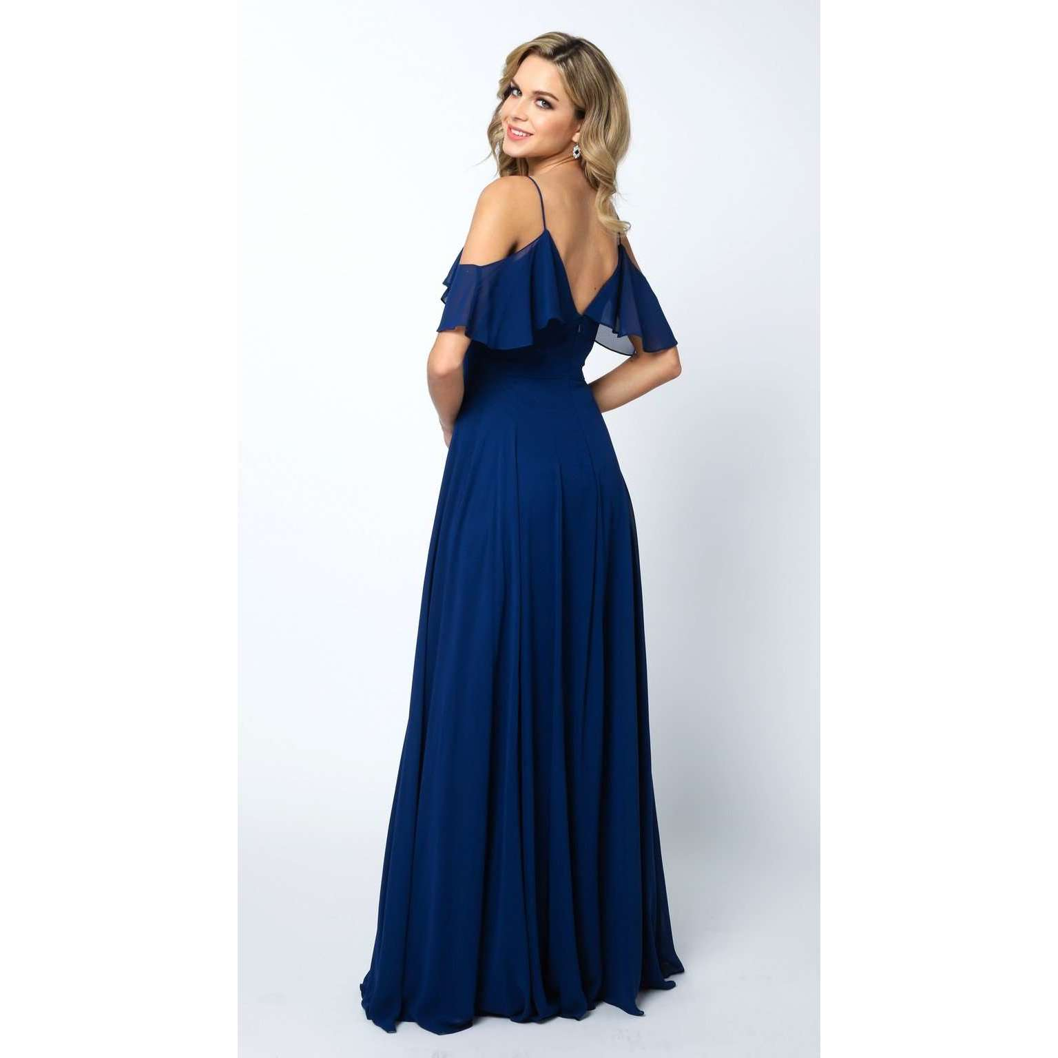 Long Chiffon  Off-Shoulder Flounce Prom Dress 671 - Julietdresses