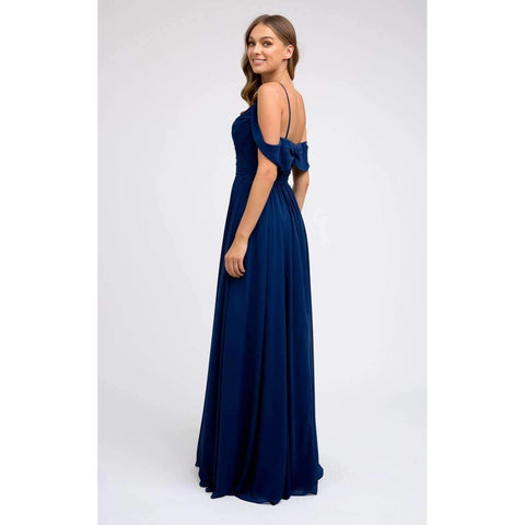 Long Chiffon Ruched-Bodice Prom Dress 676 - Julietdresses