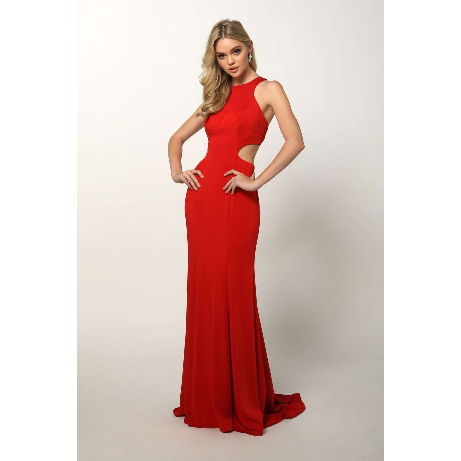 f01ed5e42a Sleeveless Fitted Side Cut Outs Prom Dress 679 - Julietdresses