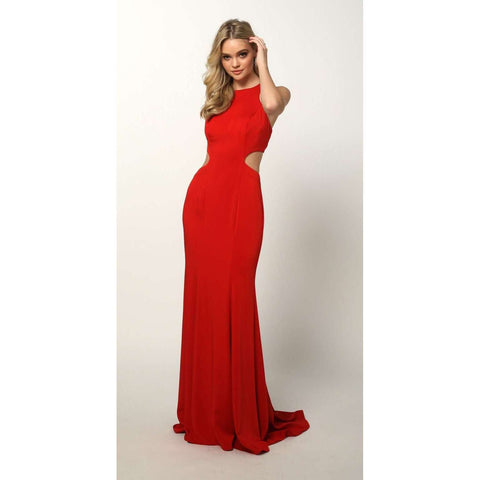 Sleeveless Fitted Side Cut Outs Prom Dress 679 - Julietdresses