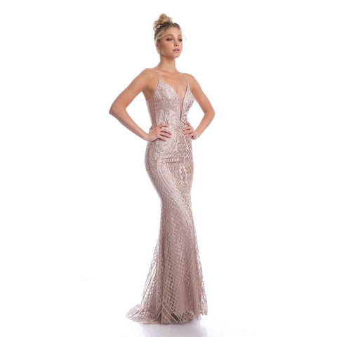 Glitter Fitted Criss Cross Open Back with Waist Belt Prom Dress 681 - Julietdresses