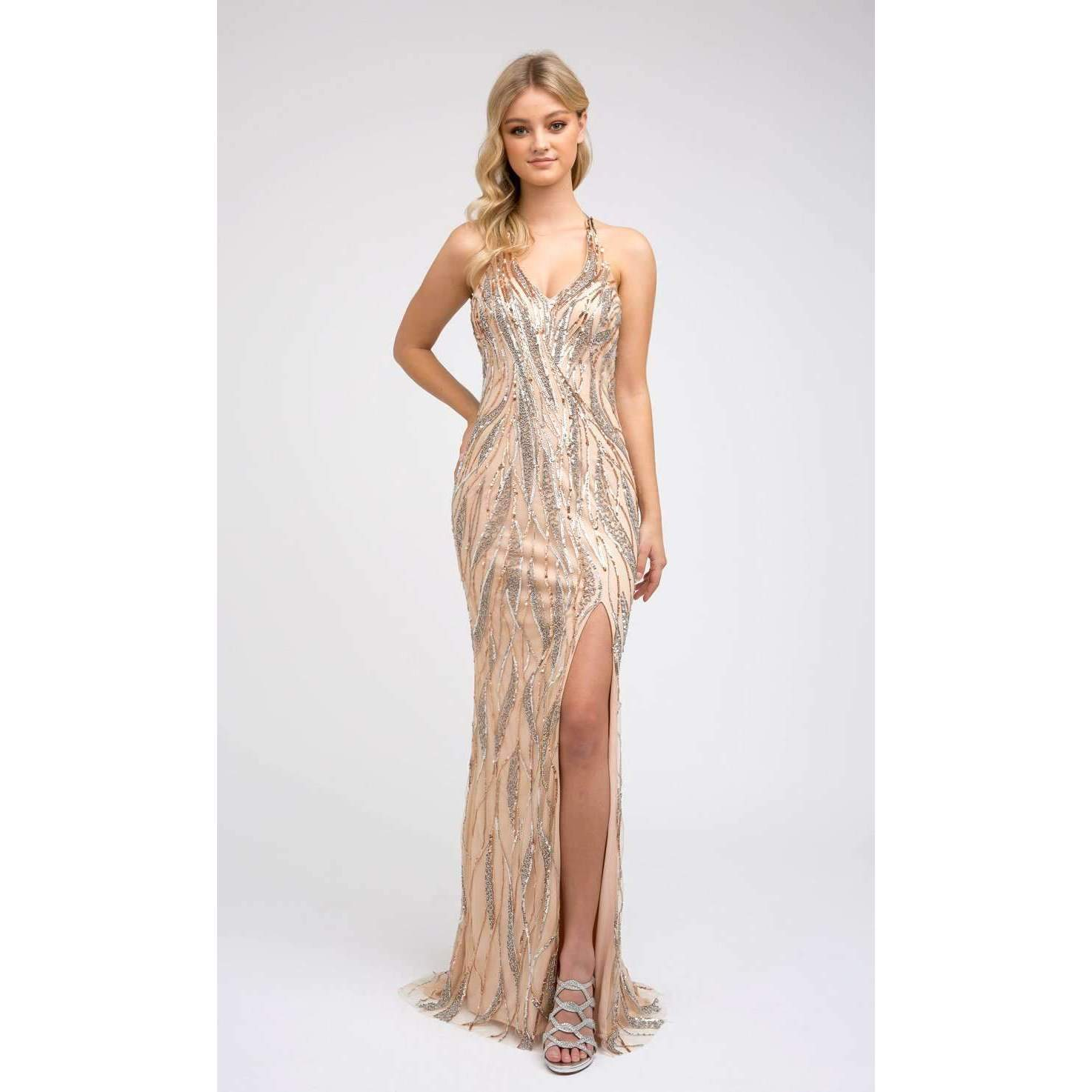 Sequin  Embellished Halter Neck Fitted Dress 683 - Julietdresses
