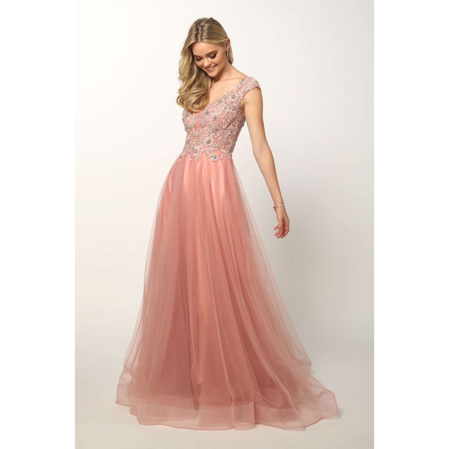 Plunging Neck Embroidery Beaded Illusion Prom Ballgown  684 - Julietdresses