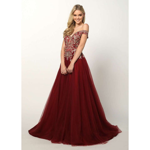 Embroidered Off the Shoulder Ball Gown Prom Dress 685 - Julietdresses