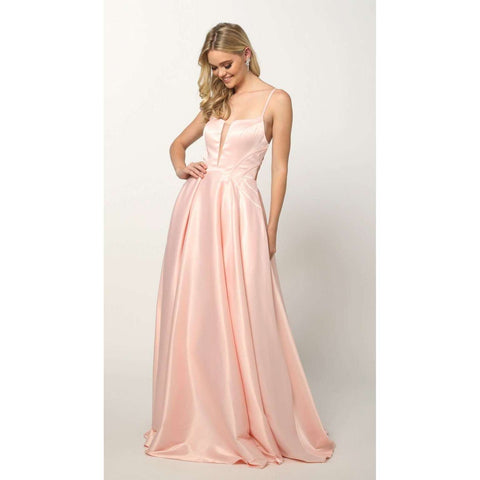 Shiny Satin A-line Prom Gown with pockets and strappy back 687 - Julietdresses