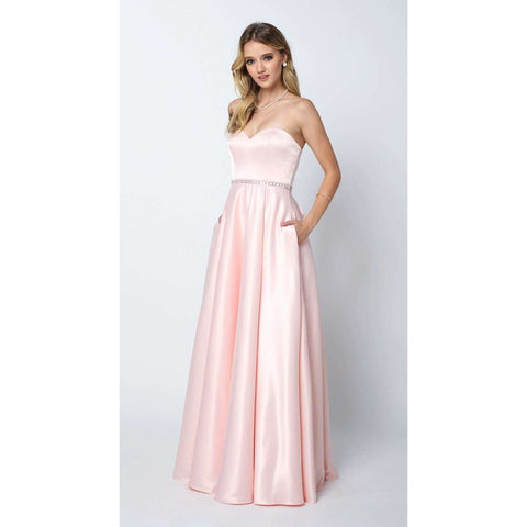 Shiny Satin A Line Gown with Beaded Belt and Pockets  688 - Julietdresses
