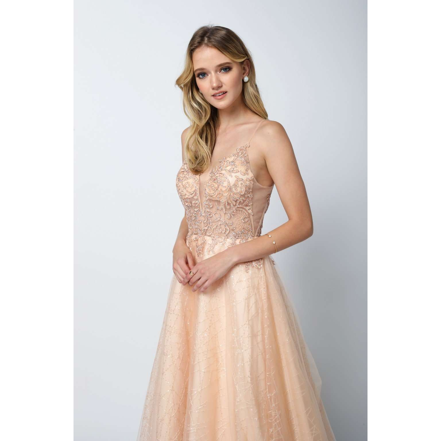 8ff02b12 Sheer Embroidered Bodice with Sequin Train Tulle Ballgown Skirt 689 -  Julietdresses