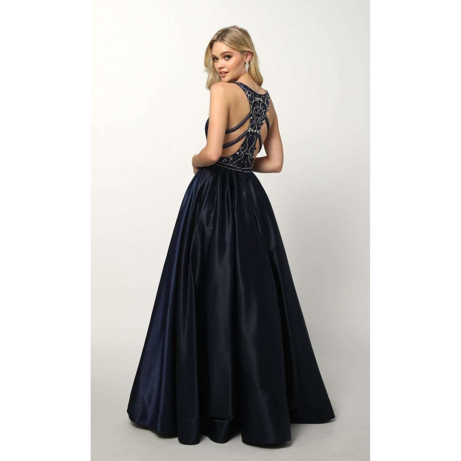 Glitter Satin Deep V Neck and Criss Cross Back Prom Gown 690 - Julietdresses