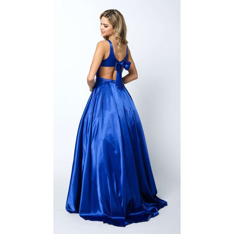 Satin Ball Gown with Deep-V Neckline and Back Bow  691 - Julietdresses