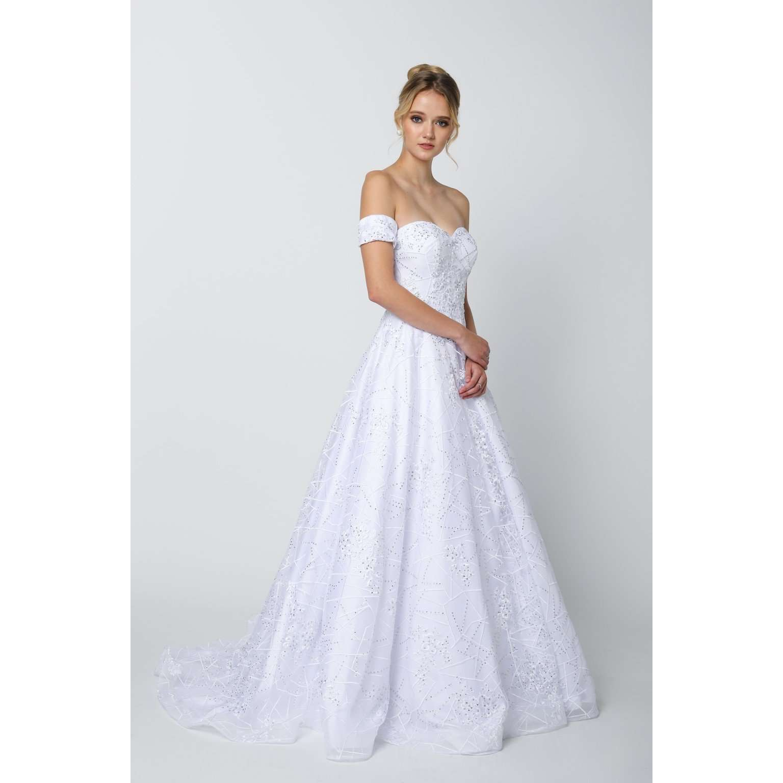 Embroidered Lace Ball Gown Dress with Arm Band 692 - Julietdresses
