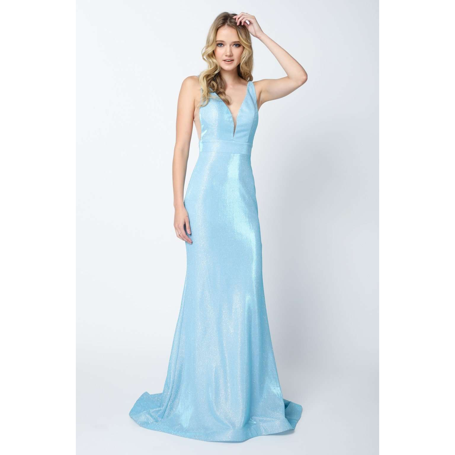 Glitter Mermaid Dress with Plunging Deep-V Neckline Dress 695 - Julietdresses