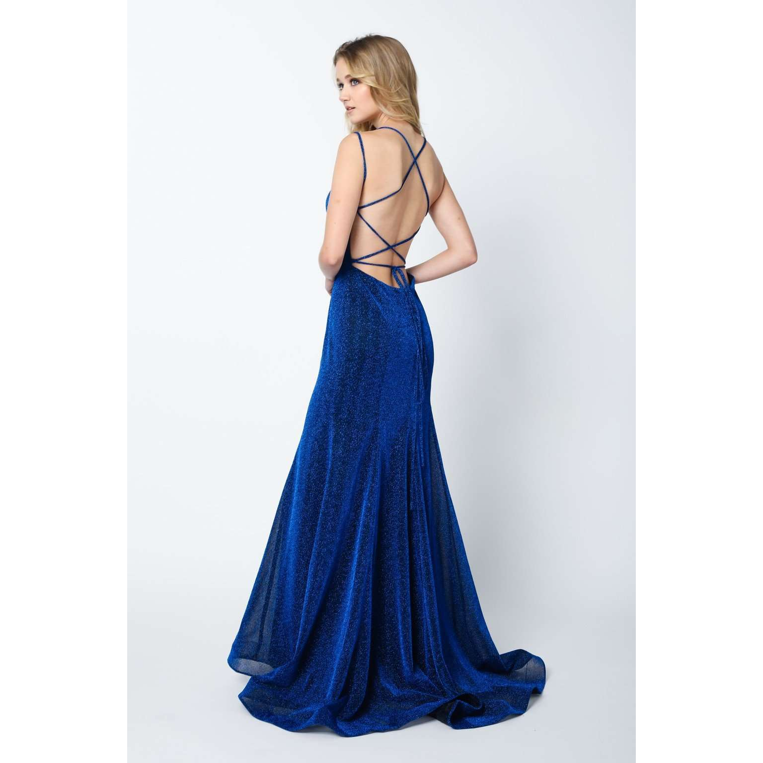 Criss Cross Back V Neck Glitter Fitted Prom Dress 697 - Julietdresses