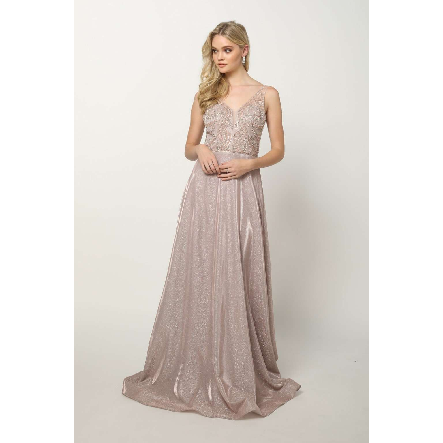 Embellished Bodice V-Neck Sleeveless Prom Dress 699 - Julietdresses