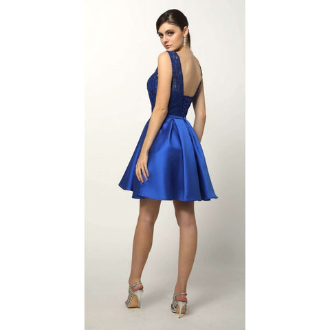 Lace and Sequin Bodice Short Dress 807 - Julietdresses