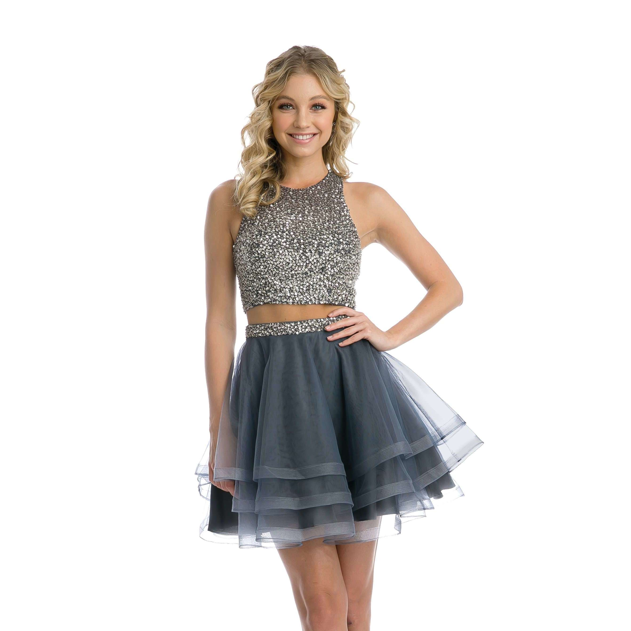 Sequins High Neck Two Piece Short Dress 810 - Julietdresses