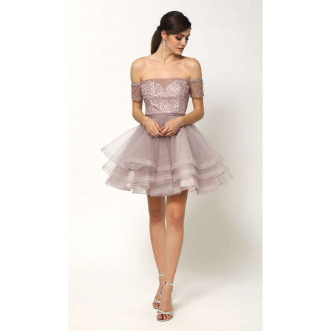 Beaded Bodice Tiered Short Dress 813 - Julietdresses