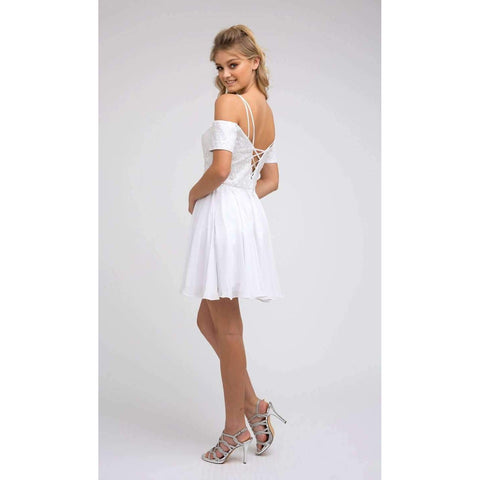 Embroidery Off Shoulder with Straps White Dress 814W - Julietdresses