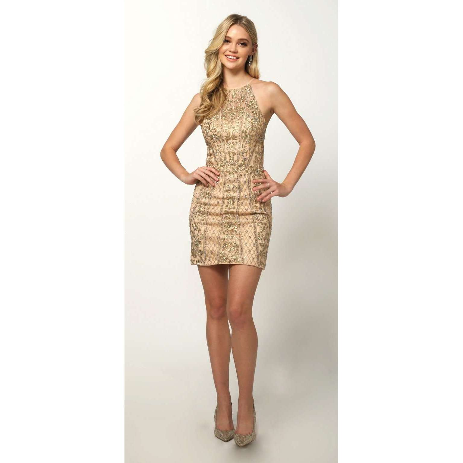 Embellished Fitted High Neck Short Dress 815 - Julietdresses
