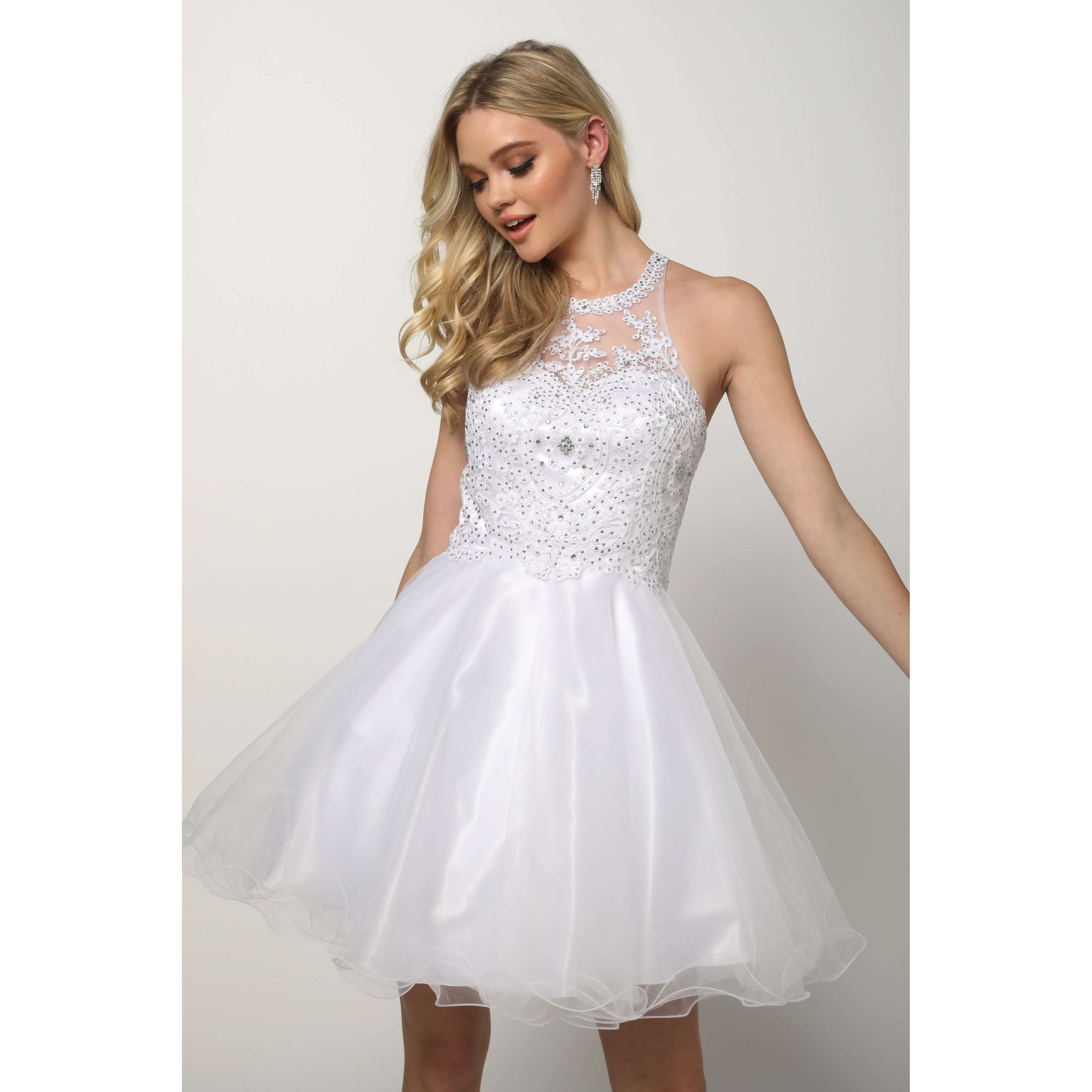 Fit-and-Flare Halter Nack White Dress 826W - Julietdresses