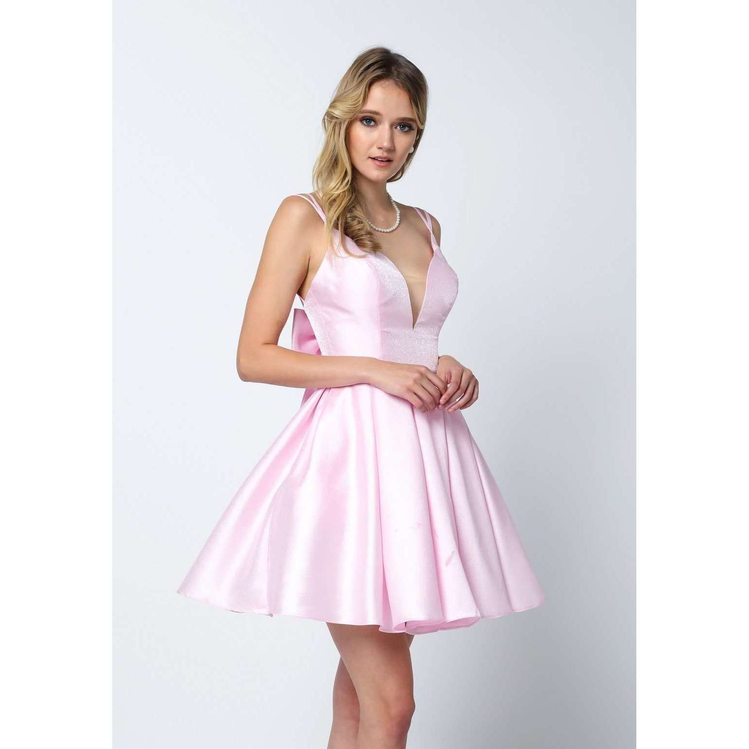 Removable Back Bow  Short Dress 827 - Julietdresses