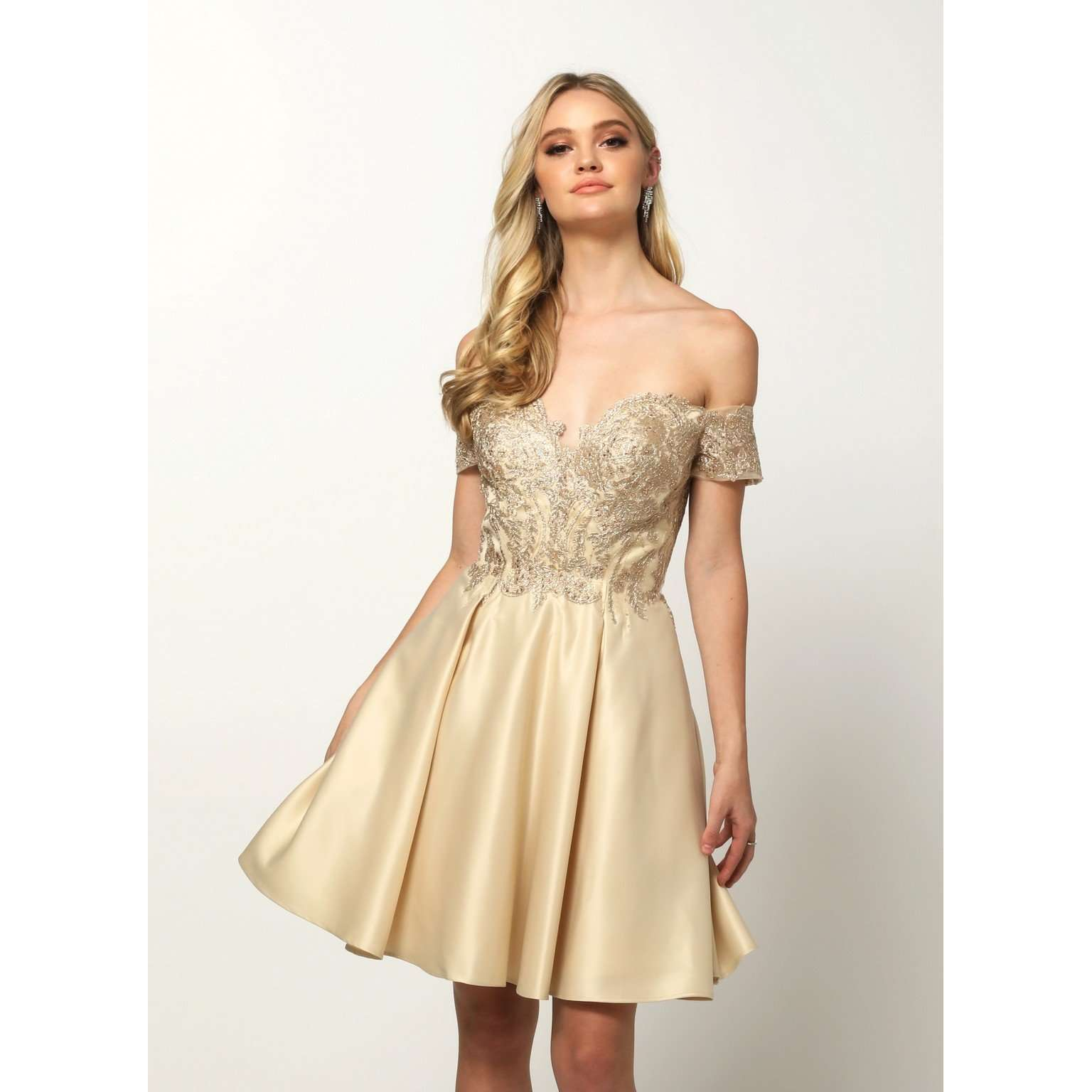 Embroidered Bodice Off-the-Shoulder Short Dress 828 - Julietdresses