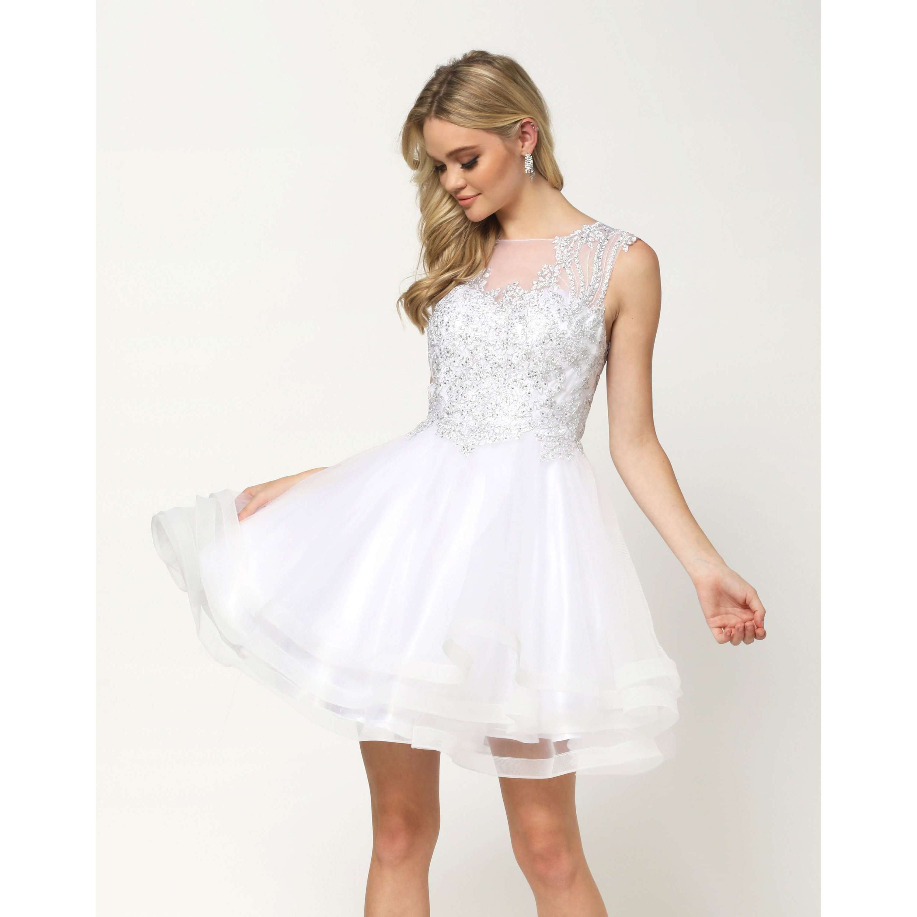 Metallic Embroidered Applique White Dress 830W - Julietdresses