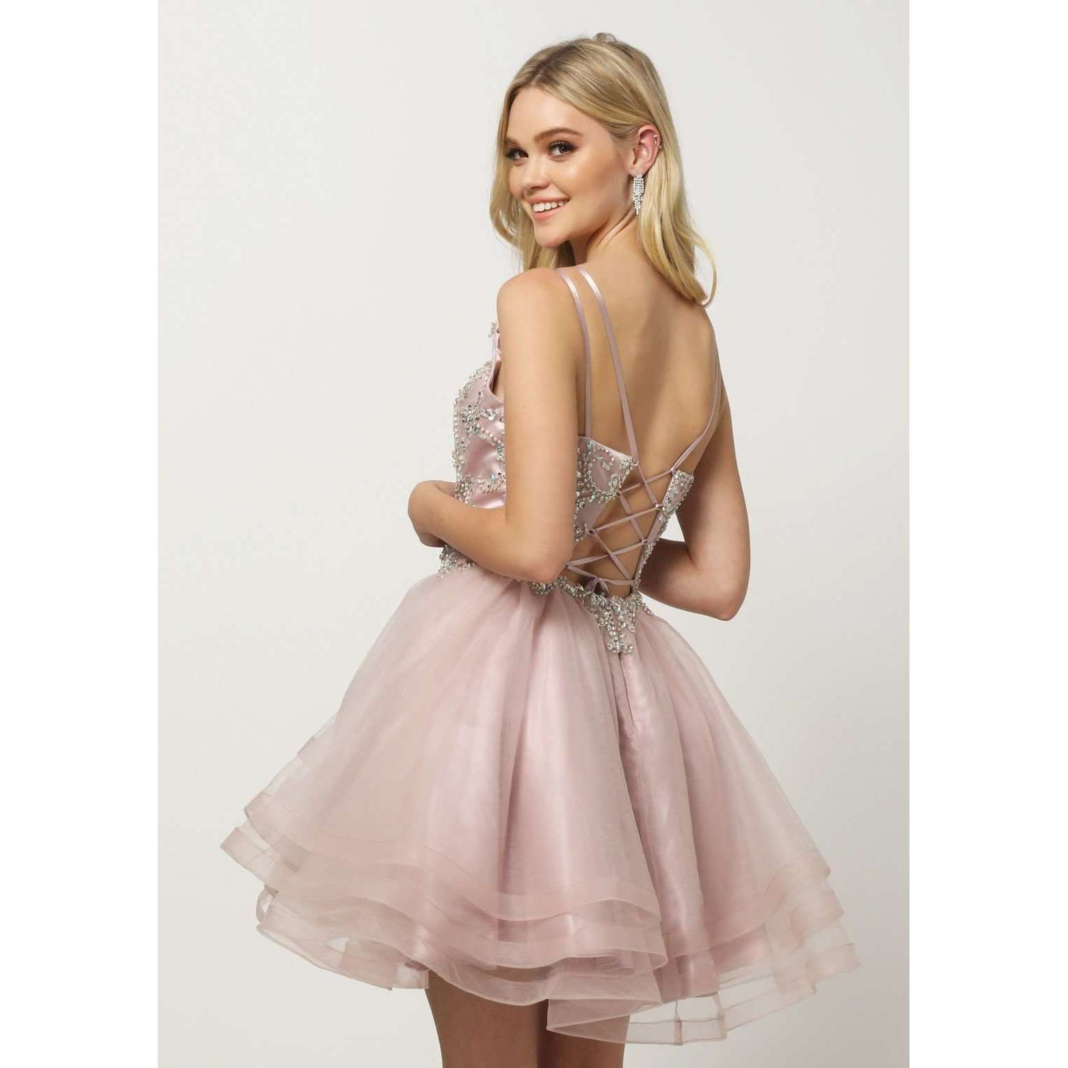Beaded Bodice Tiered Short Dress 831 - Julietdresses