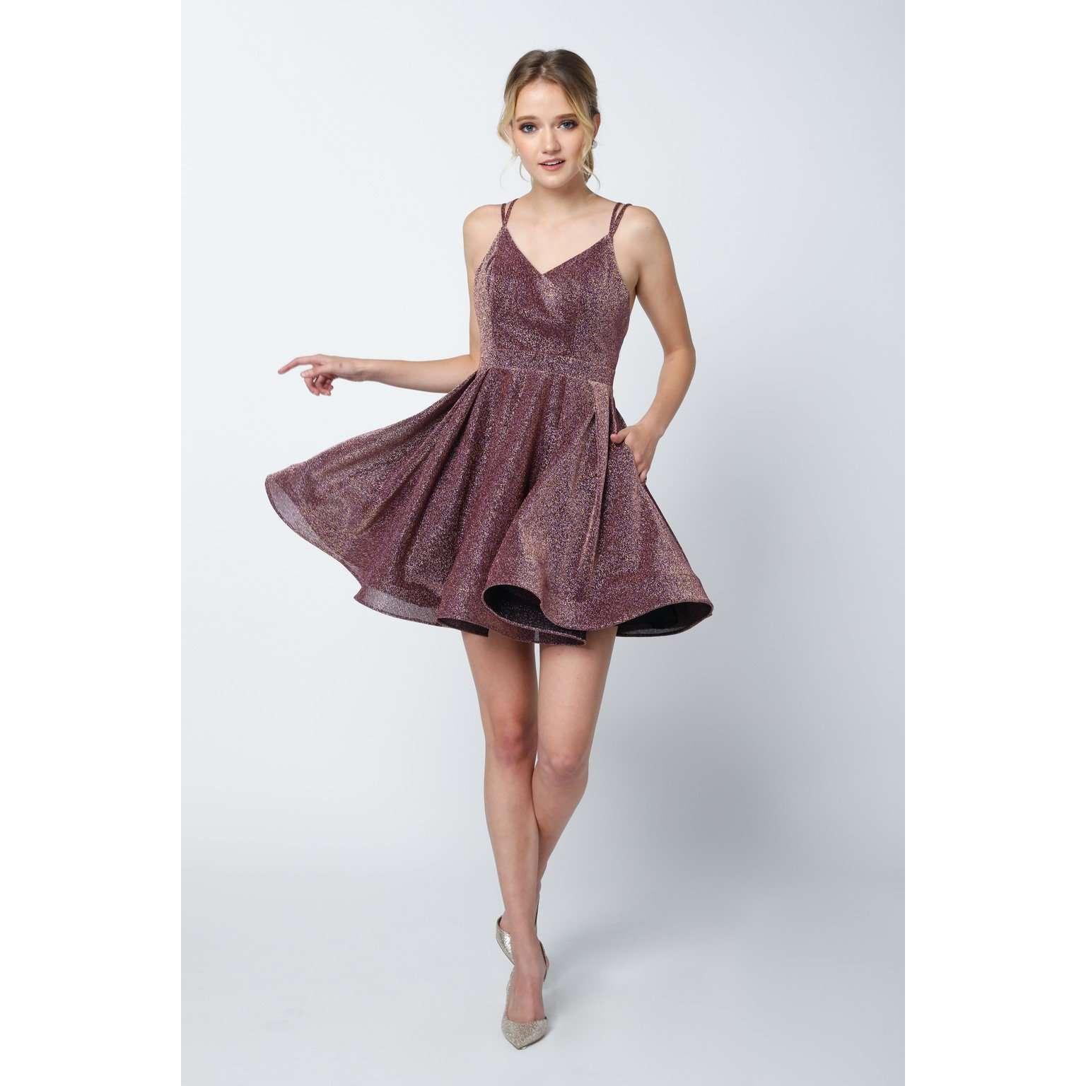 Glitter Stretch Fit and Flare Short Dress 832 - Julietdresses