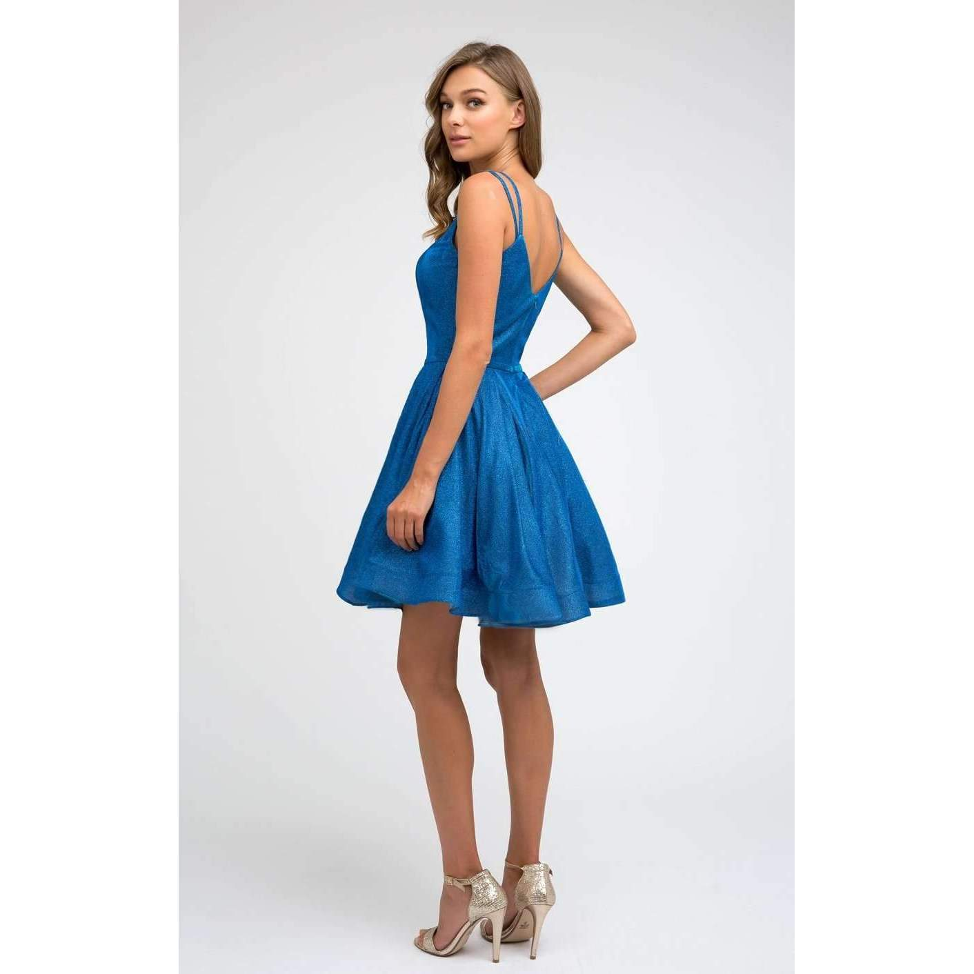 Glitter Double Straps Flare Short Dress 833 - Julietdresses