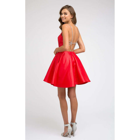 Rhinestone Straps Caged Back Side Pockets Homecoming Dress 836 - Julietdresses