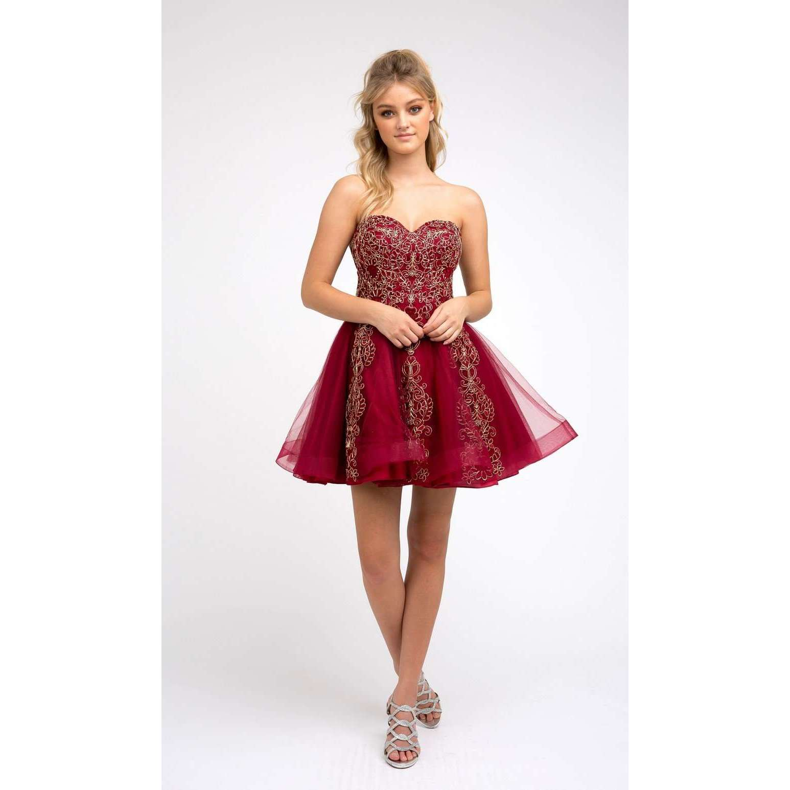 Embroidered Details Corset Back Hoco Short Dress 837 - Julietdresses