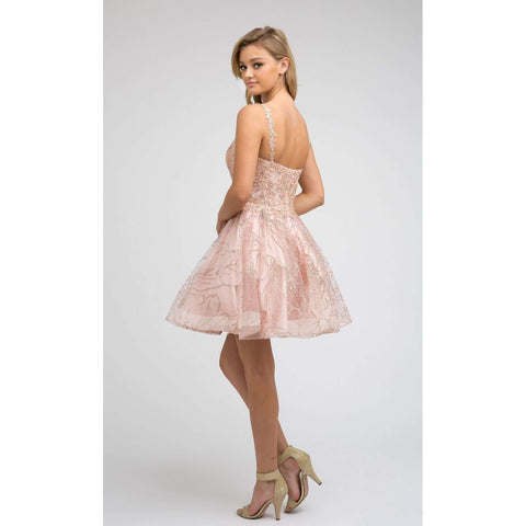 Gold Embroidered Swirling patterns Homecoming Short Dress 838 - Julietdresses