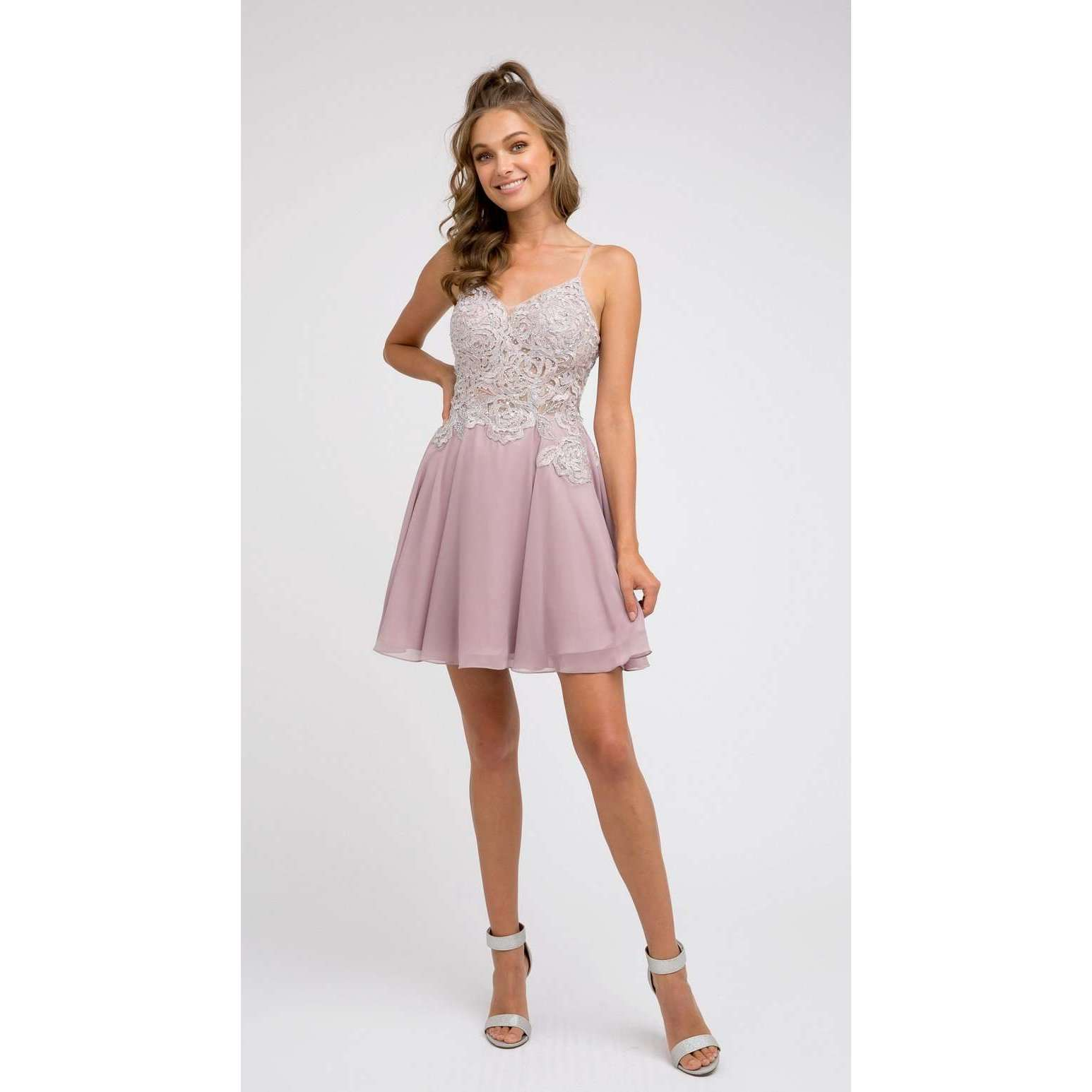 Sheer Embroidered  Bodice Chiffon Homecoming Dress 839 - Julietdresses