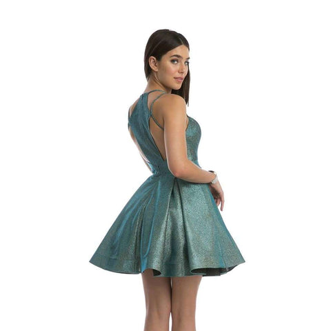 Metallic Fit-and-Flare Homecoming Short Dress 841 - Julietdresses