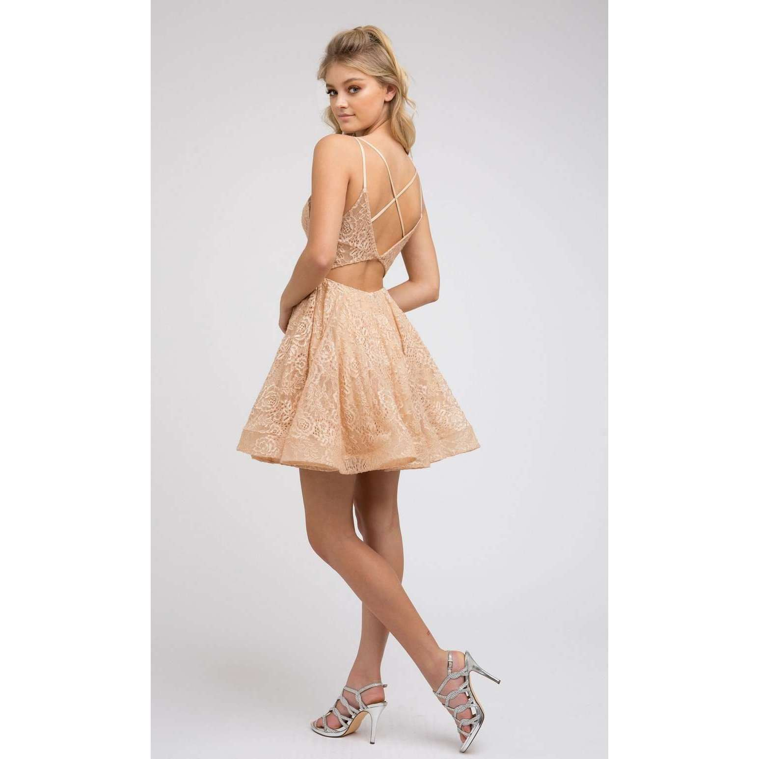 Glitter Lace Fit-and-Flare Homecoming Short Dress 842 - Julietdresses
