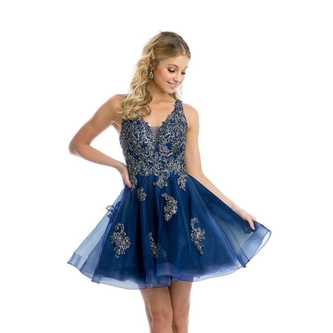 V-Neck Embellished Bodice Homecoming Short Dress 843 - Julietdresses