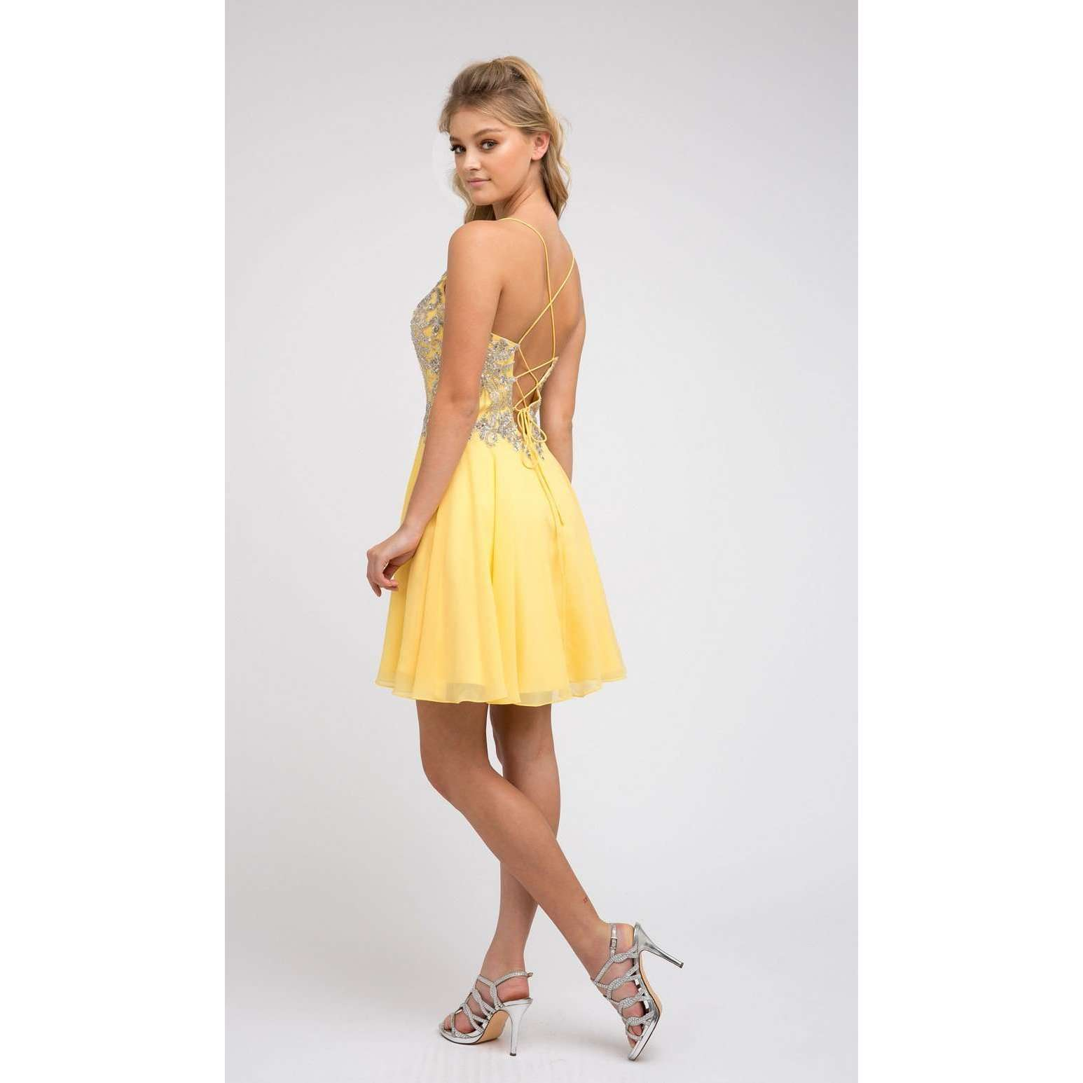 Rhinestone Embellished Chiffon Homecoming Dress 845 - Julietdresses