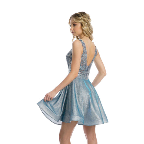 Embellishments Bodice Metallic Homecoming Short Dress 846 - Julietdresses